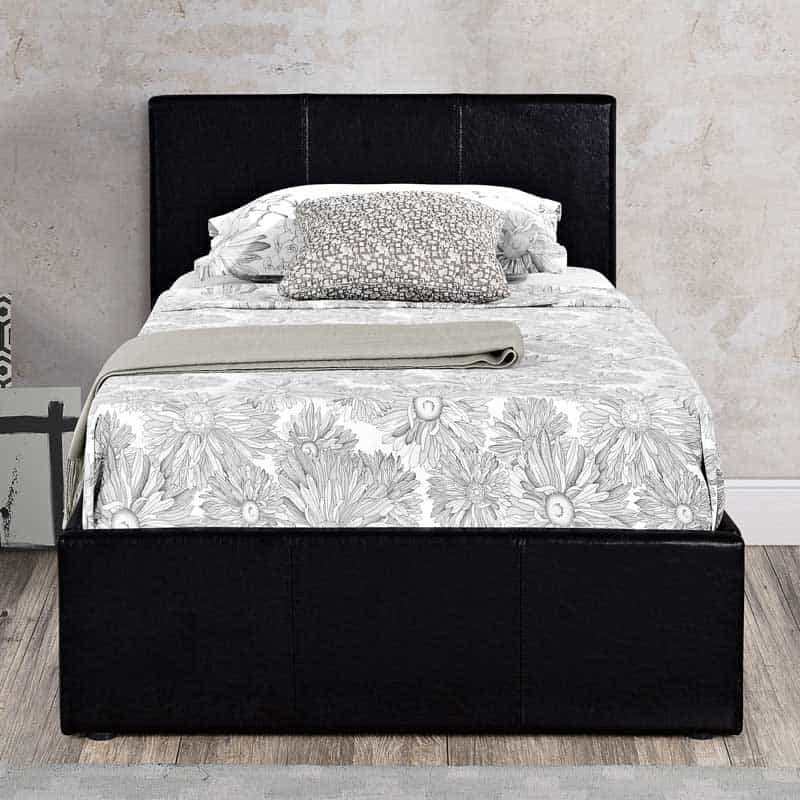 Shop Dark Brown Metal Frame Faux Leather Kitchen And: Berlin Black Faux Leather Ottoman Bed Frame
