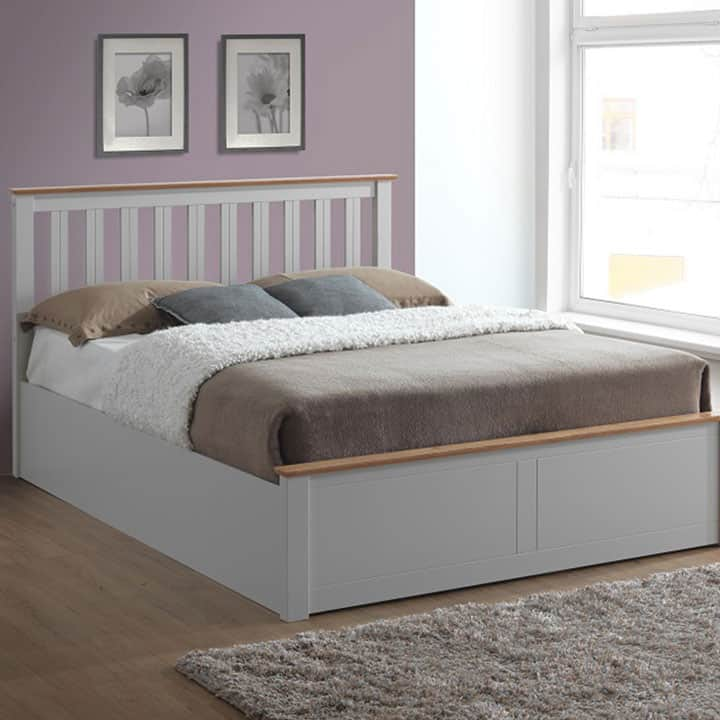 Phoenix Pearl Grey Wooden Ottoman Bed Frame Grove Bedding