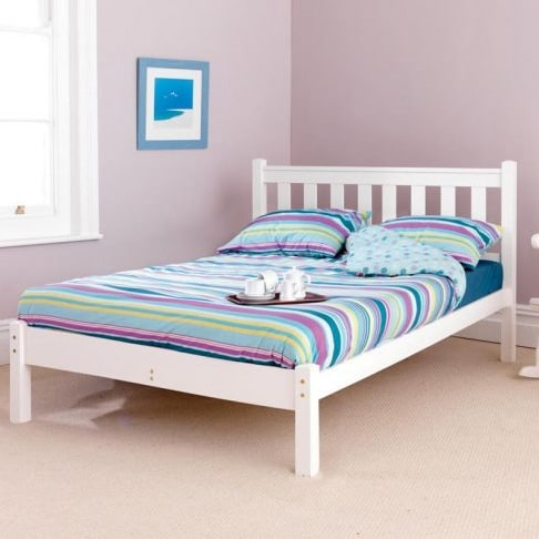 Shaker Low End White Wooden Bed Frame Grove Bedding