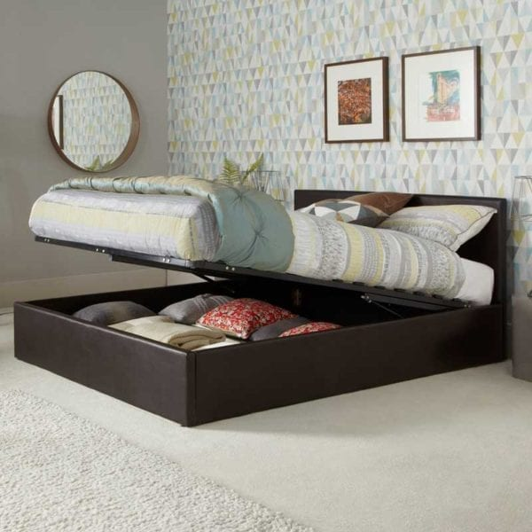 Incredible Tivoli Brown Faux Leather Ottoman Bed Frame Bralicious Painted Fabric Chair Ideas Braliciousco
